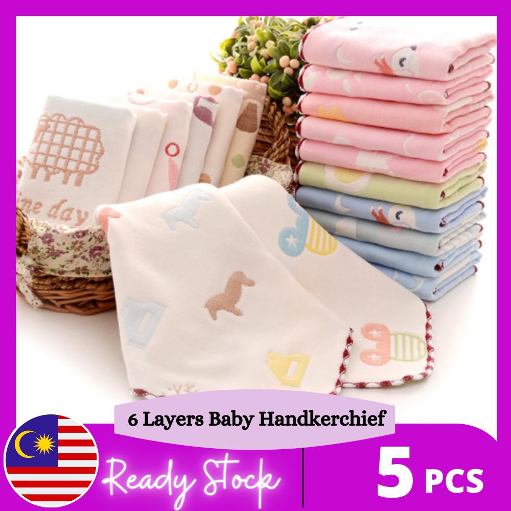 Baby Kids 6-LAYER Handkerchief 100% COTTON GAUZE Hanky Hankies 25x25cm / Bayi Tuala Sapu tangan Assorted Design (5pcs in a set)