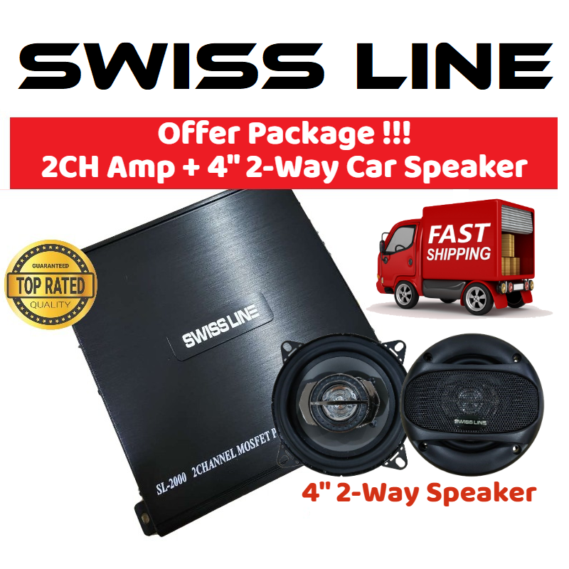 "SWISS LINE SL-2000 Car Amplifier 1600 Watts 2-CH Channel High Performance Power Car Amp for Car Speaker 2ch amp + 4"" 2-Way Car Speaker 150 Watts Coaxial Car Speaker"