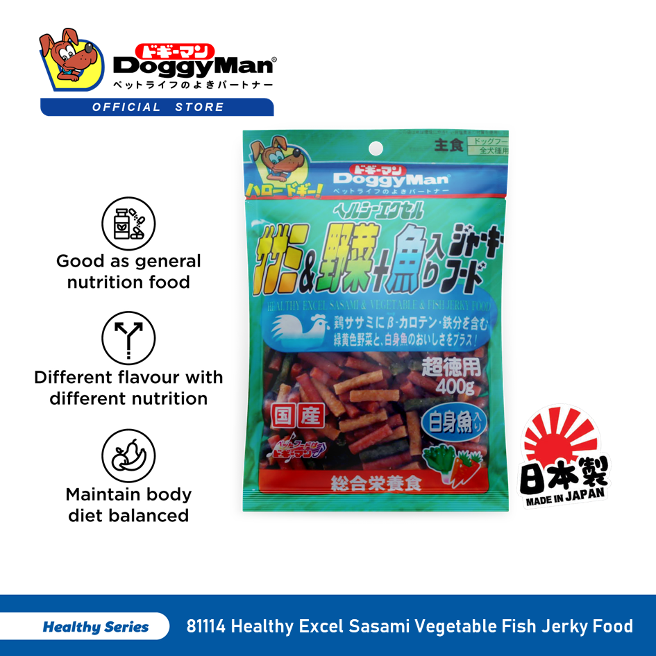 DoggyMan Healthy Excel Sasami Vegetable Fish Jerky Food 400G [Dog Treat Snack Snek Anjing]