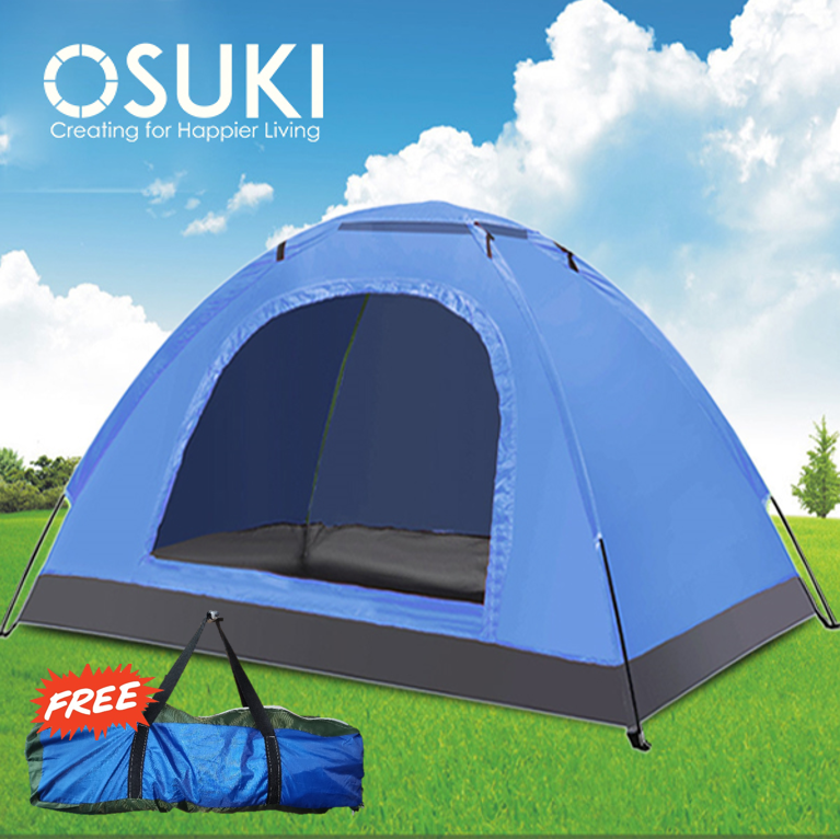 OSUKI Camping Tent 2-3 Person Automatic Rapid With Door 1 Window (Blue)