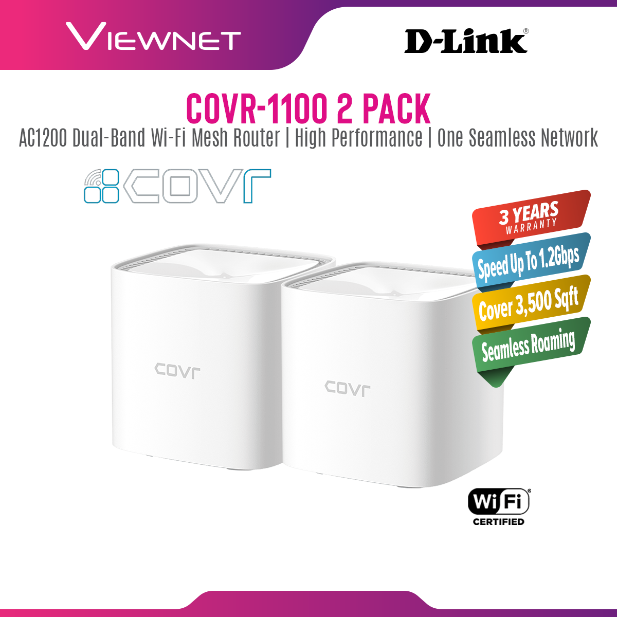 D-Link COVR-C1100 Mesh WiFi Network System Gigabit Dual Band Wave 2 Whole Home Wireless Wi-Fi Router COVR C1100 COVR-1100 2 PACK COVR 1100