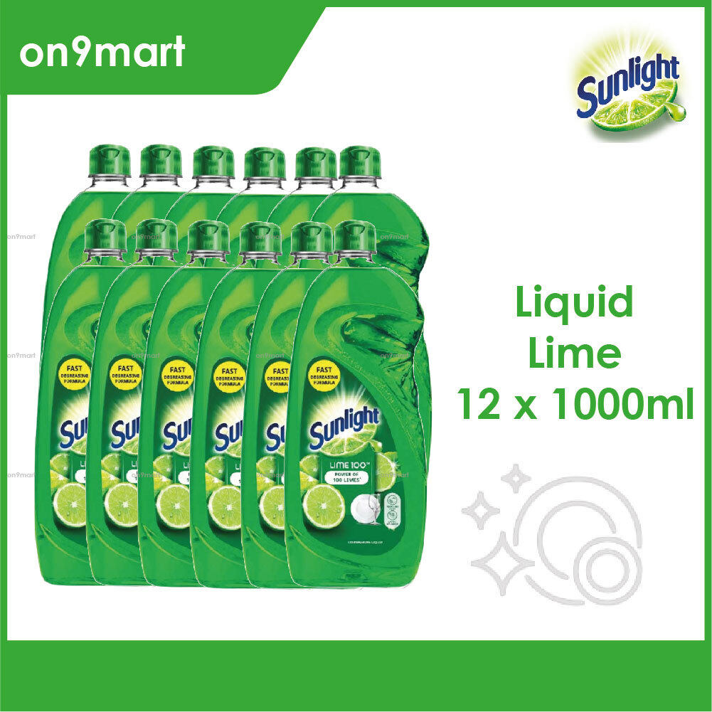 Sunlight Lime Extracts Dishwashing Liquid 1000ml x 12