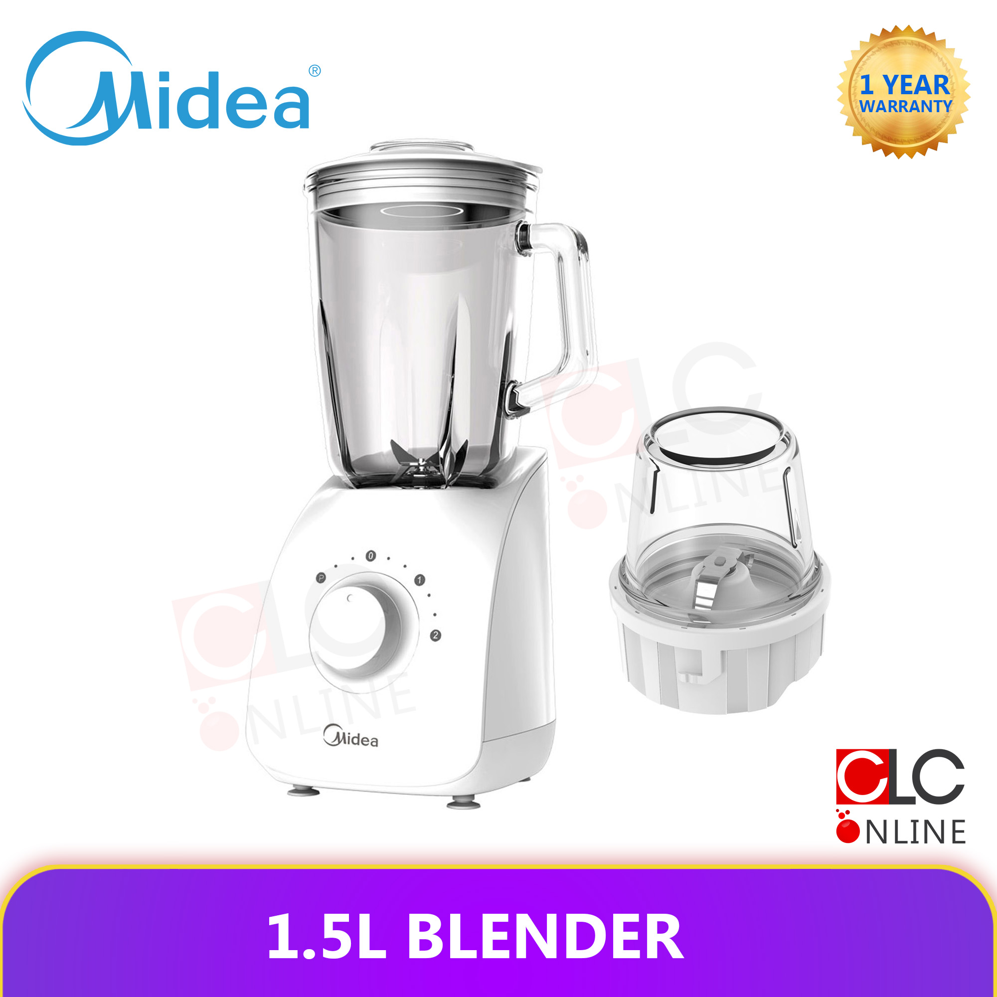 Midea 1.5L Glass Jar Blender With Dry Mill MBL-1190 MBL1190