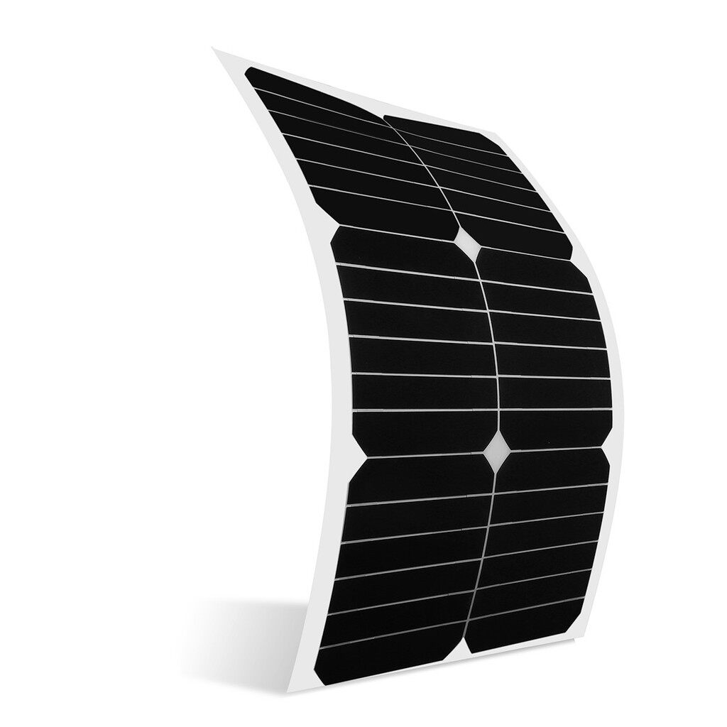 Car Electronics - 20W 12V Mono Semi-Flexible Solar Panel w/ 3m Cable Crocodile Clip Smoke Detector - Automotive