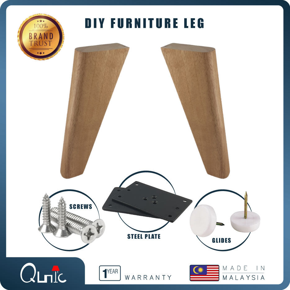 Qunic 8 inch Wood Furniture Leg DIY Natural finished Wood Sofa Bed Pack of 2 Square