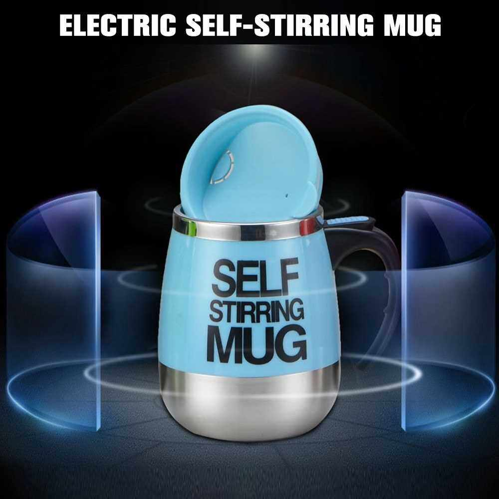 Self Stirring Mug 450ml Coffee Cup Stainless Steel Inner Automatic Mixing Coffee Tea Hot Chocolate Milk Protein Shake for Home Office Travel (Black)