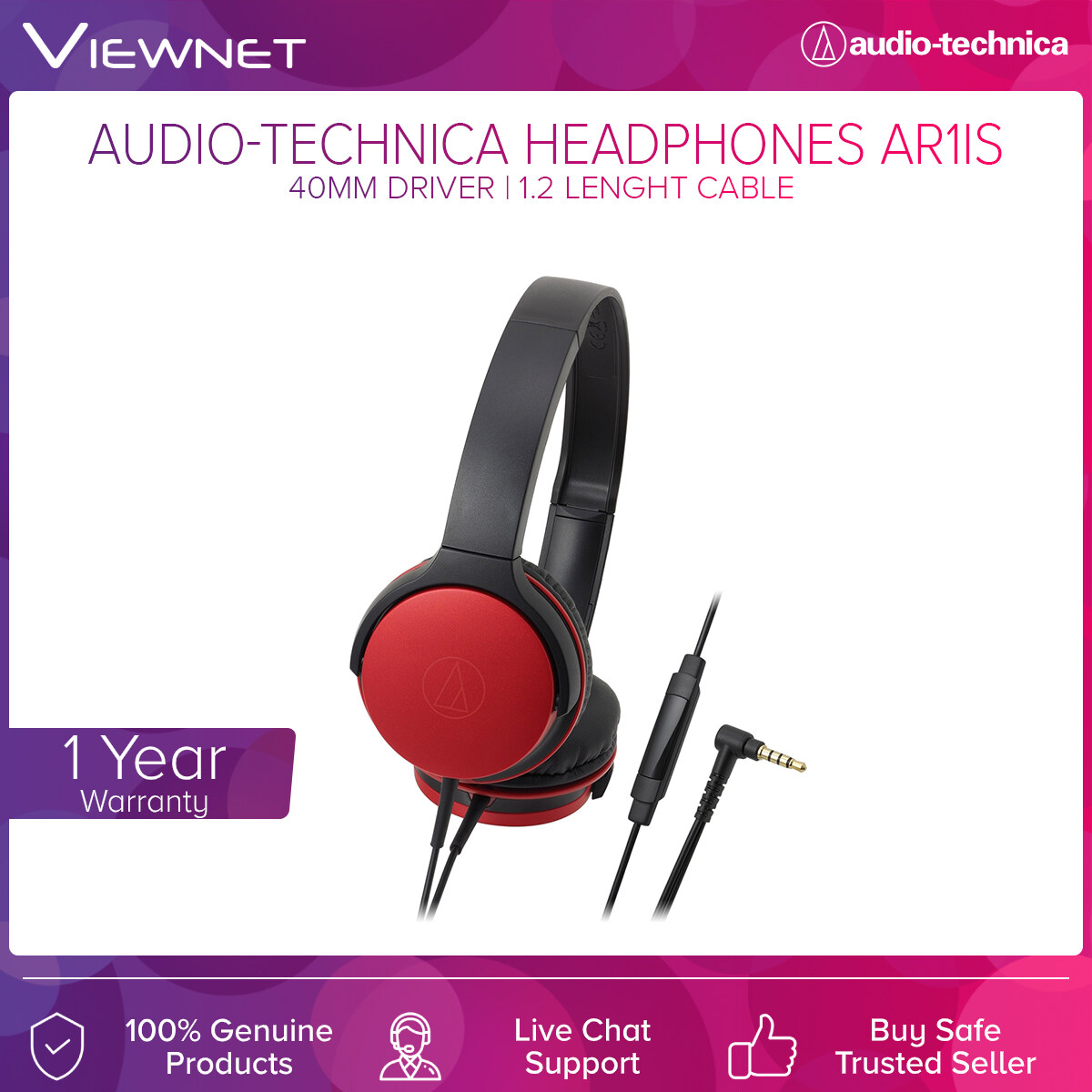 Audio-Technica Headphones ATH-AR1IS with 40mm Driver, 5 - 30,000 Hz Frequency, 1.2m Length Cable, Gold-Plated 3.5mm Audio Jack, Built-In Microphone