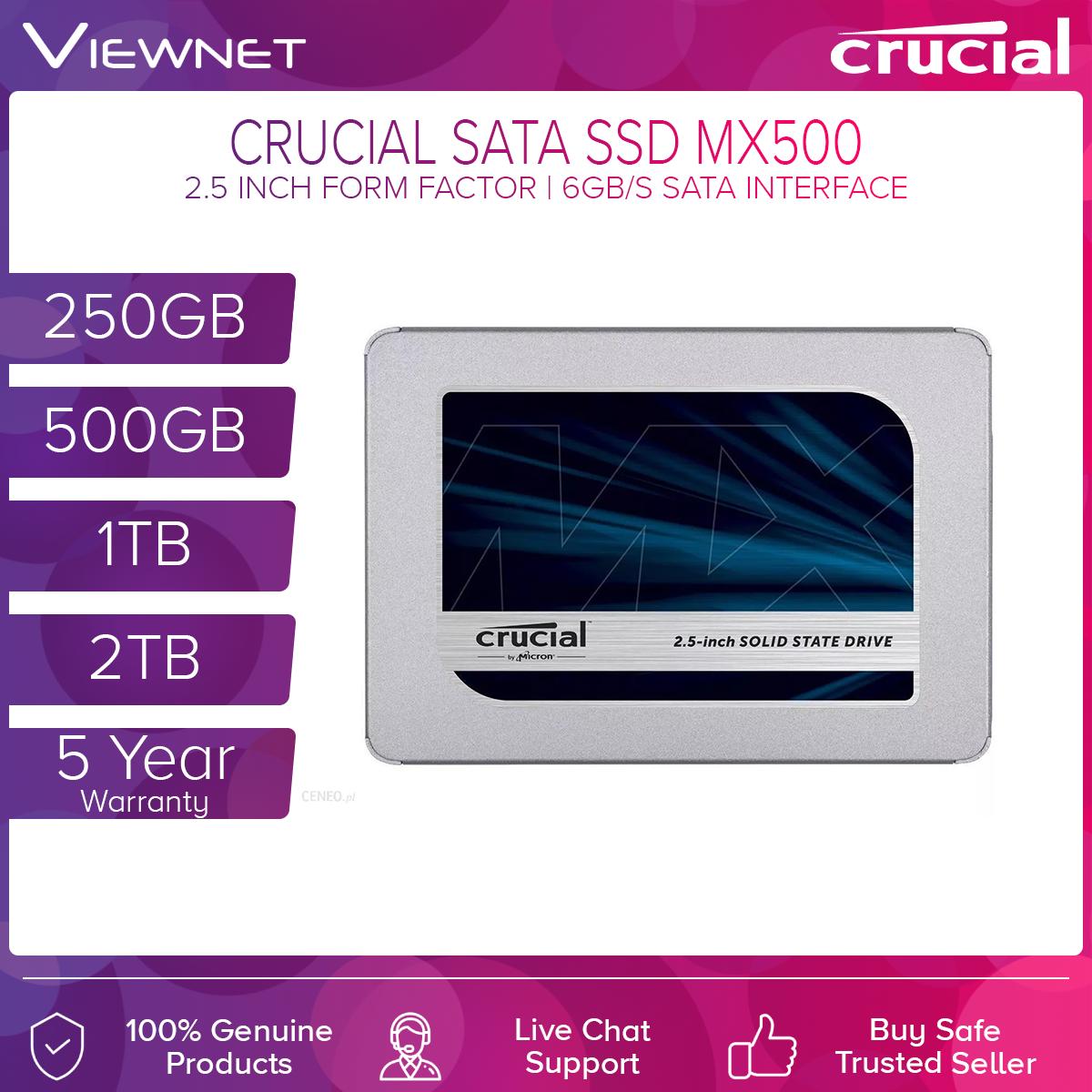 Crucial MX500 SATA 2.5-inch 7mm (with 9.5mm adapter) Internal SSD (560 MB/s Read 510 MB/s Write) -250GB/500GB/1TB/2TB