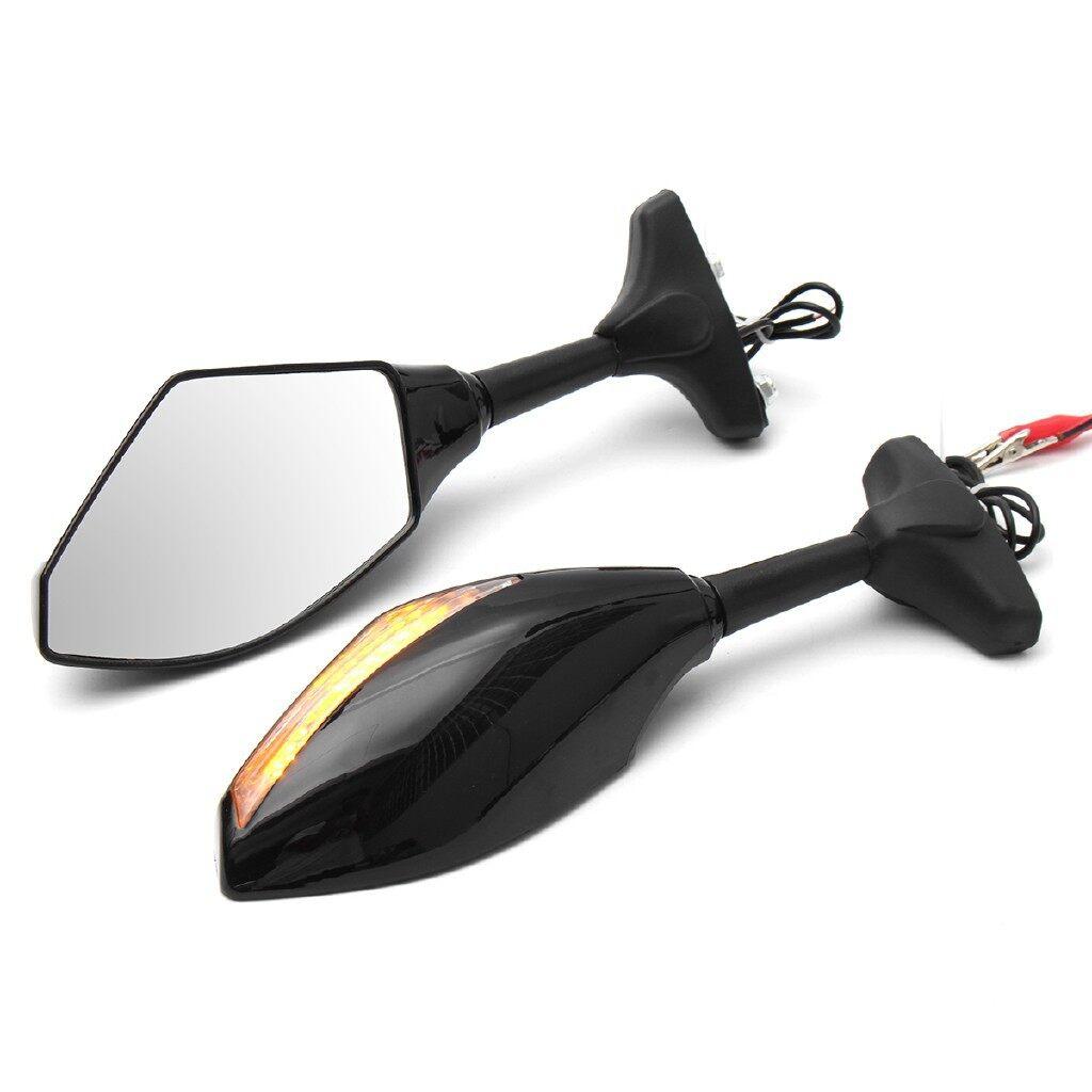 Moto Accessories - 2x Motorcycle LED Turn Signal Rear View Mirrors Fit Honda Suzuki Kawasaki Yamaha - Motorcycles, Parts