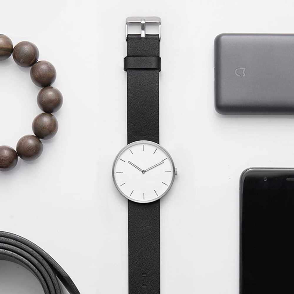 Original Xiaomi TwentySeventeen Analog Quartz Wrist Watch 39mm Luminous 3ATM Water Resistant Fashion Elegant Men Women Luxury Casual Genuine Leather Stainless Steel Band Optional Battery for 5 Years (Silver)