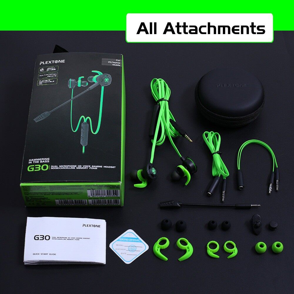 PLEXTONE G30 PC Gaming Head SET with Mic In Ear Bass Noise Cancelling Earphone for Phone Computer - BLACK / RED / GREEN