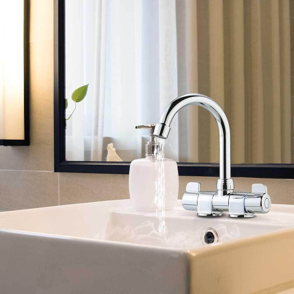 Foldable RV Faucet Rotating Two Handle Deck/Wall Mounted RV Kitchen Faucet Hot and Cold Water Mixer Tap for Motorhome Travel Trailer