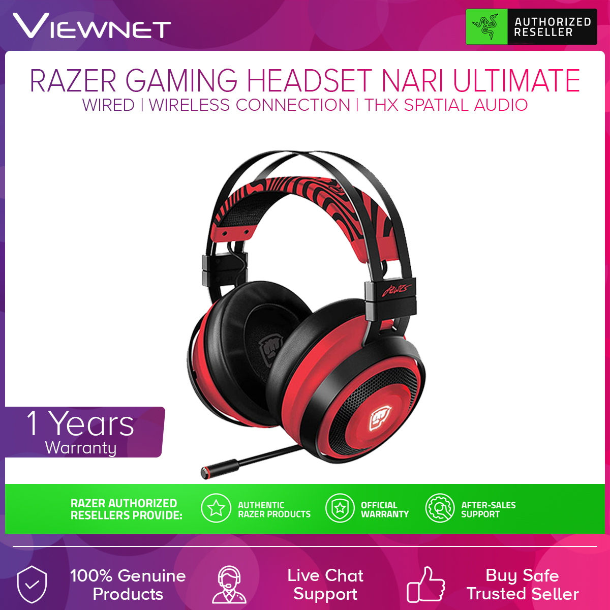 Razer Gaming Headset Nari Ultimate Pewdiepie Edition with Razer Hypersense, THX Spatial Audio, Aluminum Frame, Cooling Gel Cushions, 2.4GHz Wireless Connection or 3.5MM Audio Jack