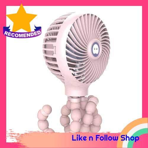Mini Handheld Stroller Fan Portable Desktop Air Fans with Flexible Tripod 3 Gear Wind Speed Rechargeable Cooling Fan (Pink)