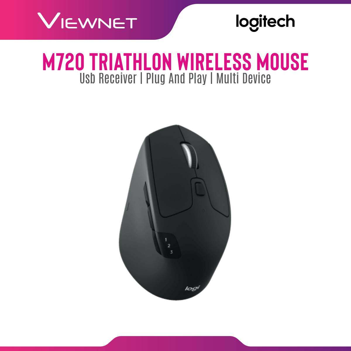 Logitech M720 Triathlon Wireless Mouse with Easy Switch Technology, Hyper Fast Scrolling, 24-Month Battery Life, Bluetooth Smart and 2.4 GHz Wireless Connection, Logitech Advanced Optical Tracking, Logitech Options and Logitech Flow Softeware Support