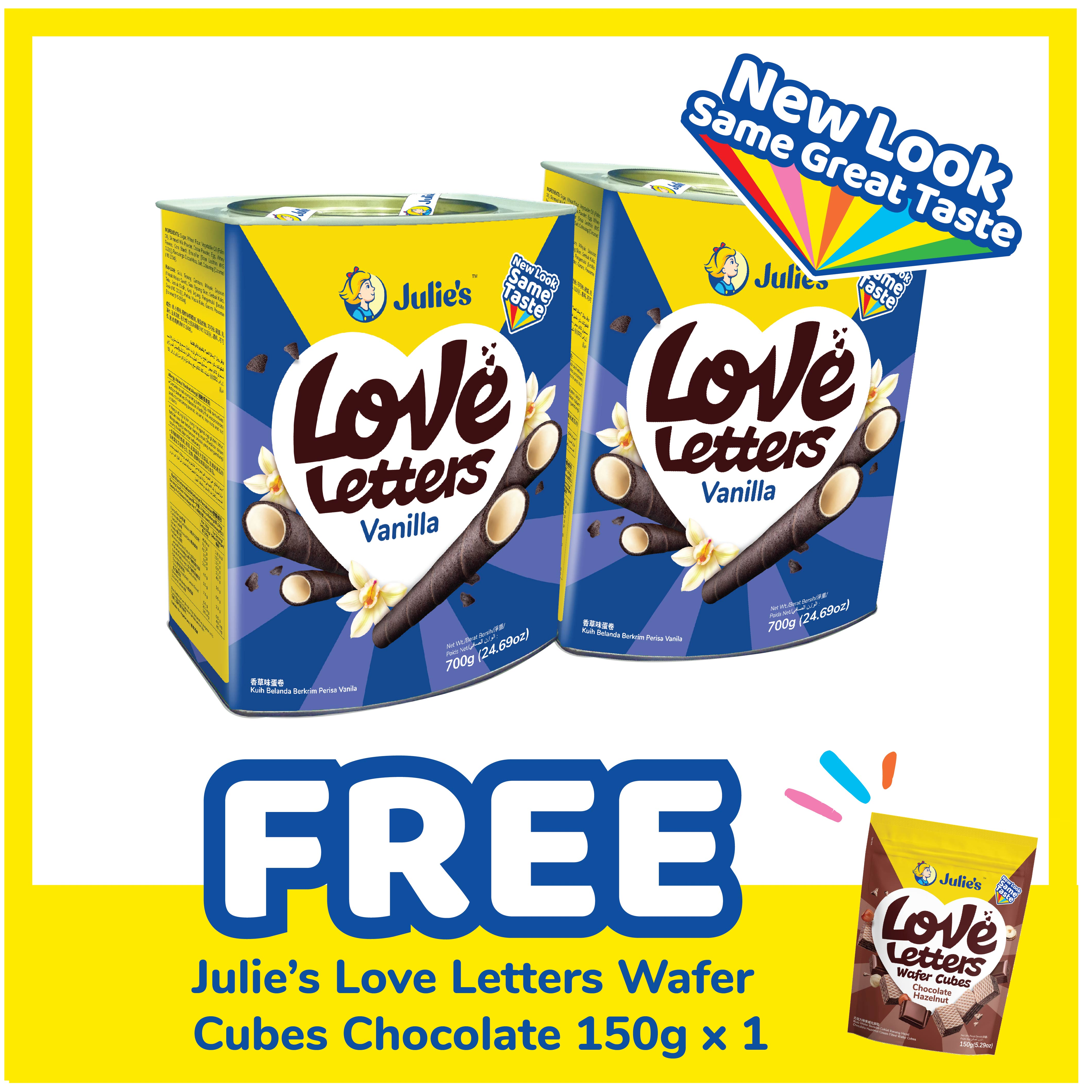 Julie's Love Letters Vanilla 700g x 2 tins [Inner Pack Online Exclusive] + Free Julie's Love Letter Wafer Cube Chocolate 150g x 1 pack [ CNY Promotion Packaging ]