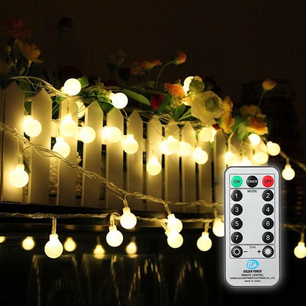 Lighting - 13M/42.7Ft 3.6W 100LED Globe String Light with Remote Control 8 Different Lighting Modes - Home & Living