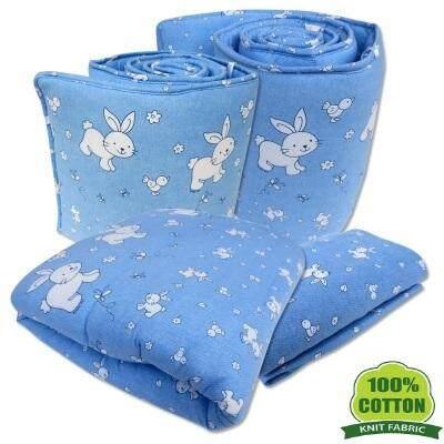 Bumble Bee: 4pcs Crib Set / Bedding Set (KNIT FABRIC) - DENIM BUNNY