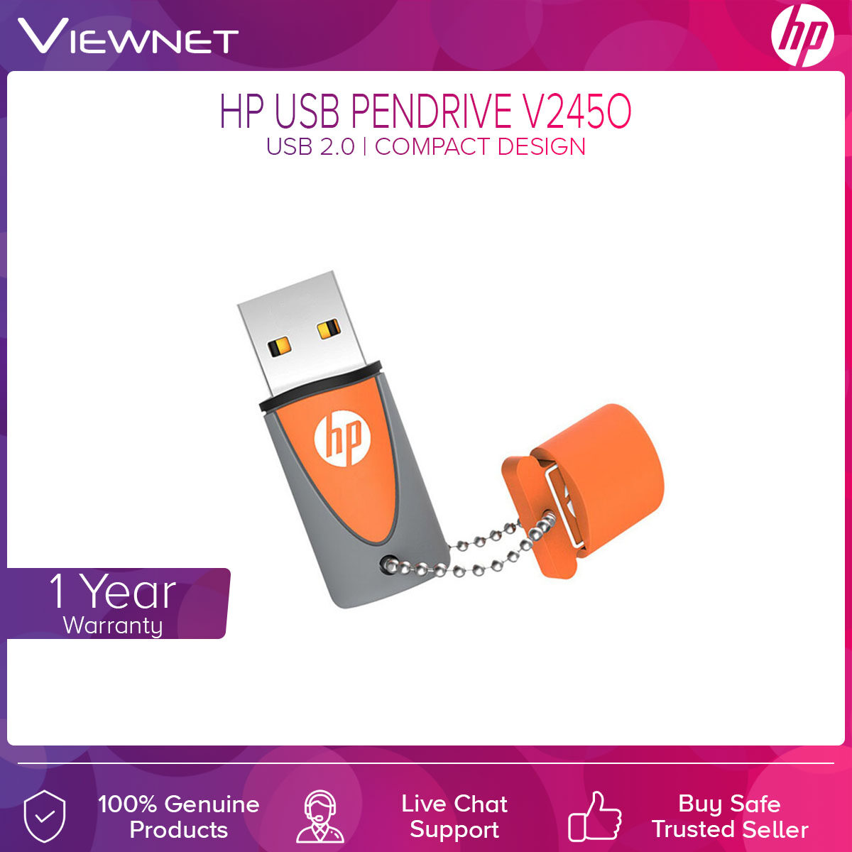 HP USB Pendrive X245O with USB 2.0 Connection, Compact Design, Durable Rubber Material