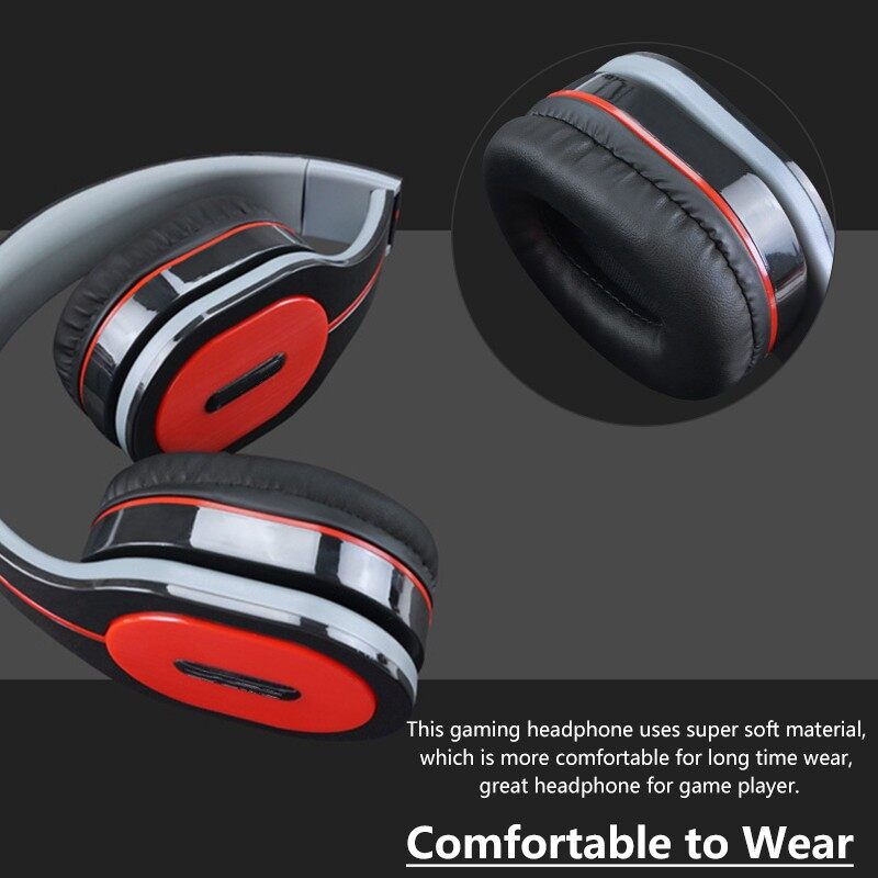 On-Ear Headphones - 3.5mm Wired Control Headphone Gaming Head SET Stereo Bass Earphone - Audio
