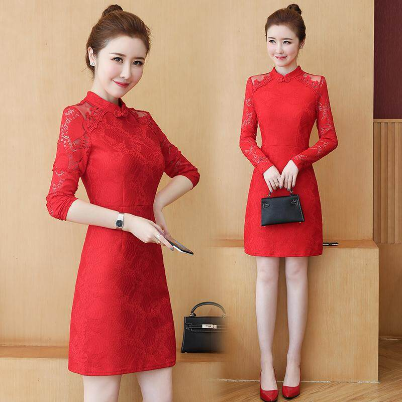 (Pre Order14 Days JYS Fashion Korean Style Women CNY Festive Red Cheongsam Collection-5261188col526-1188--Red-Int:S