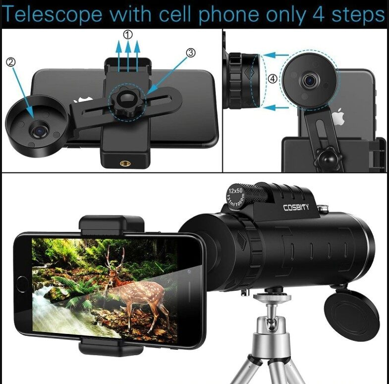 [READY STOCK + FREE GIFT] Professional 40X60 Zoom HD Telescope Free Universal Mobile Phone Camera Holder Tripod Multi coated green lens opticsBird Watch Sport Travel Astronomical Dual Focus Gift Idea