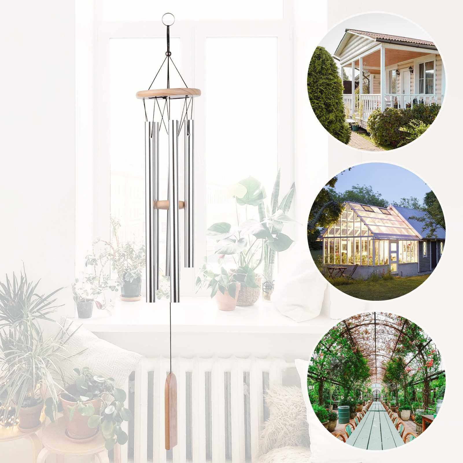 5 Chimes Wooden Wind Chimes Aluminum Tubes Solid Wood for Bedroom Balcony Door Garden Yard Decoration (Silver)