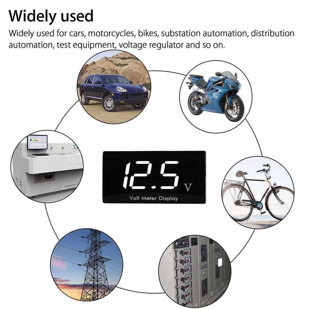 Best Selling 12V Digital LED Display Panel Meter Voltmeter Car Motorcycle Voltage Volt Gauge Panel Meter for Vehicle Automotive (White) (White)