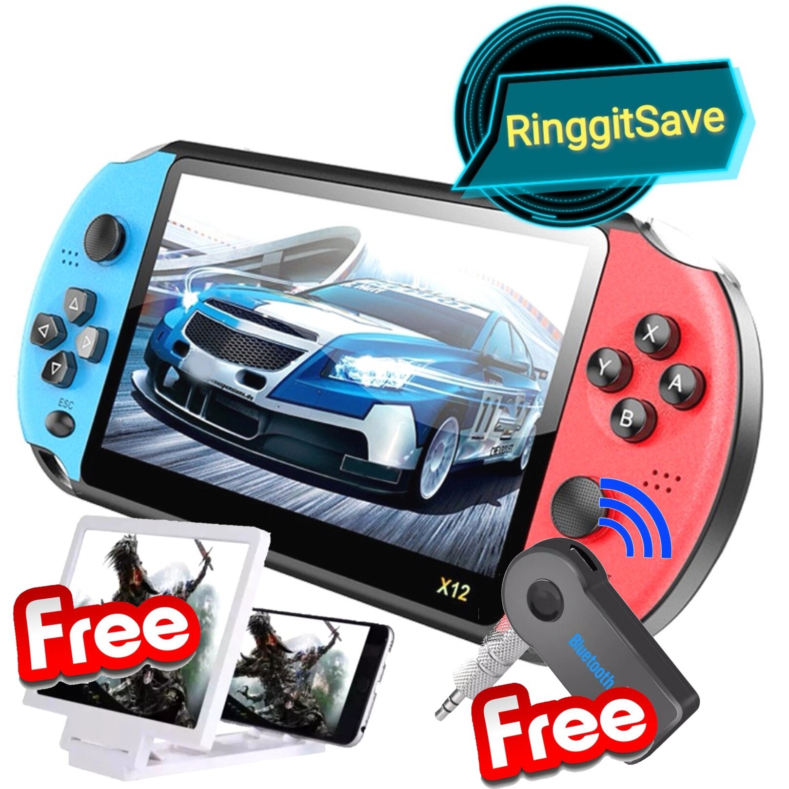 (Ready Stock) X12 5.1 Inch Double Rocker Handheld Game Console Support TV Output Retro Portable Mini Video Player Build In 2000 + Classic Games Support TF Card With Free Gift