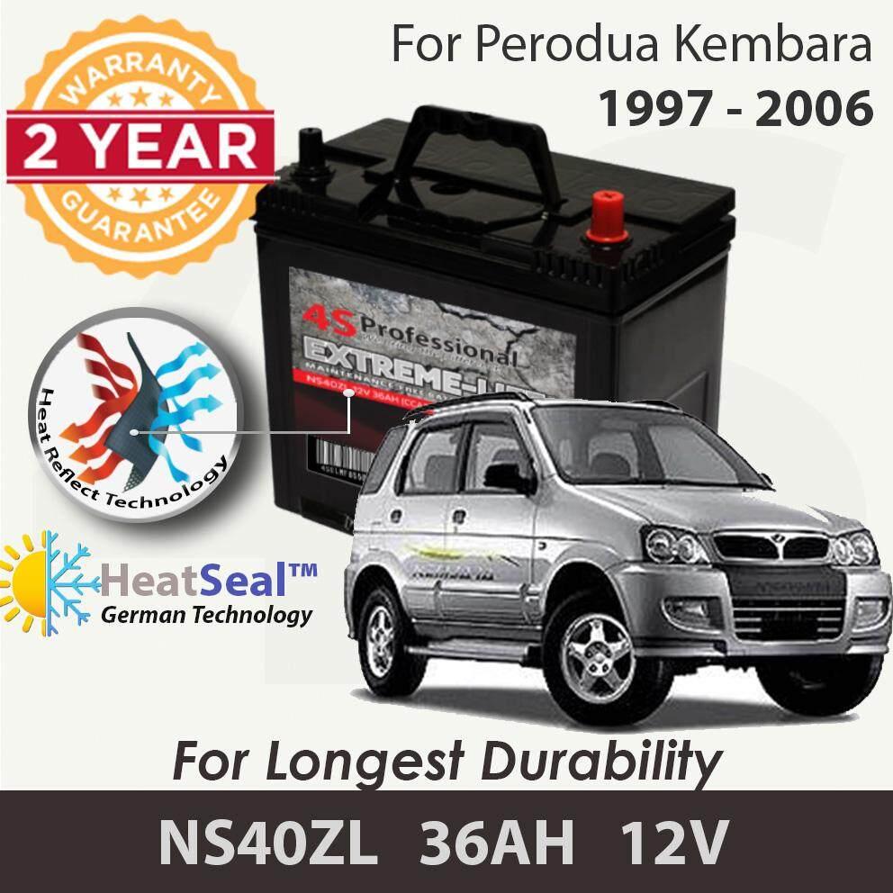 [Free Self-Installation Kit] Perodua Kembara 1997-2006 NS40ZL (36B20L) 4S Professional Extreme-Life MF Maintenance Free Car Battery (24 months Warranty) equal to NS40 Amaron Go /GP MF Gold / Varta Silver /Century Gold