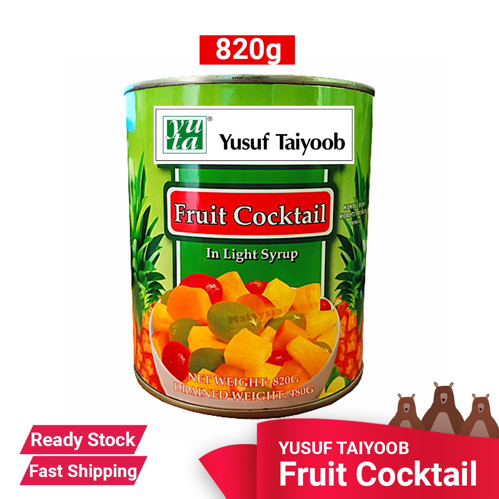 YUSUF TAIYOOB FRUIT COCKTAIL 820G - READY STOCK - FAST SHIPPING - Dessert, Halal, Dinner snacks, canned, preservative