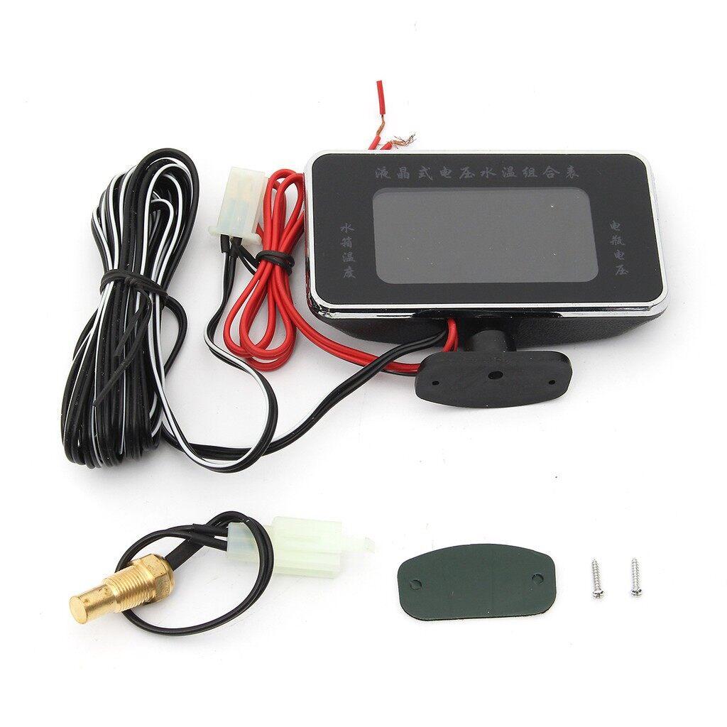 Moto Accessories - 12V/ 24V LCD Digital Display Panel Voltmeter Car Motor Water Temperature Gauge - Motorcycles, Parts