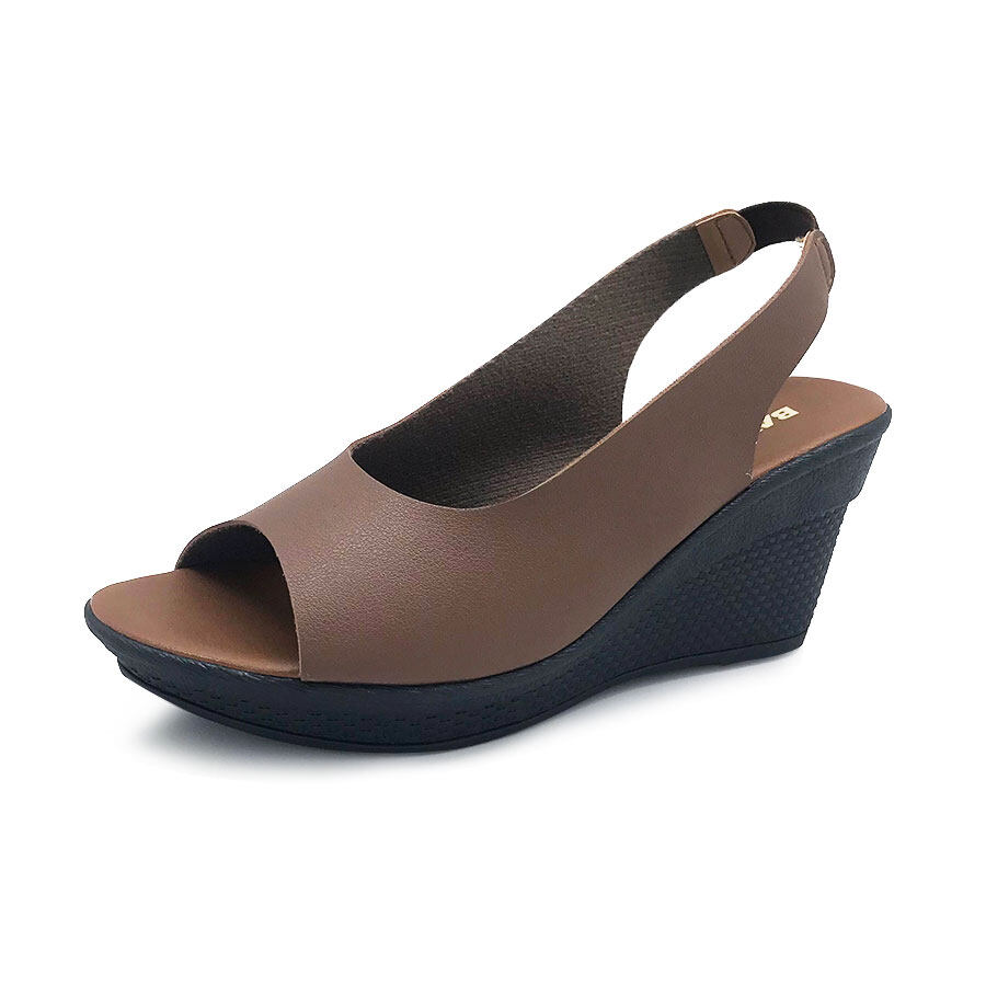 XES Ladies BSLM60549 Strap Open-Toed Wedges (Black, Khaki)
