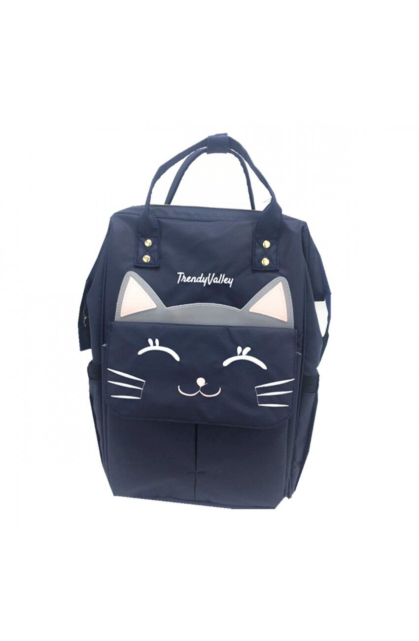 TRENDYVALLEY MULTI FUNCTIONAL BABY KINDS DIAPER BACKPACK MOMMY CHANGING BAG - KITTY BLUE (USB FUNCTION):TVBAG02KITTY