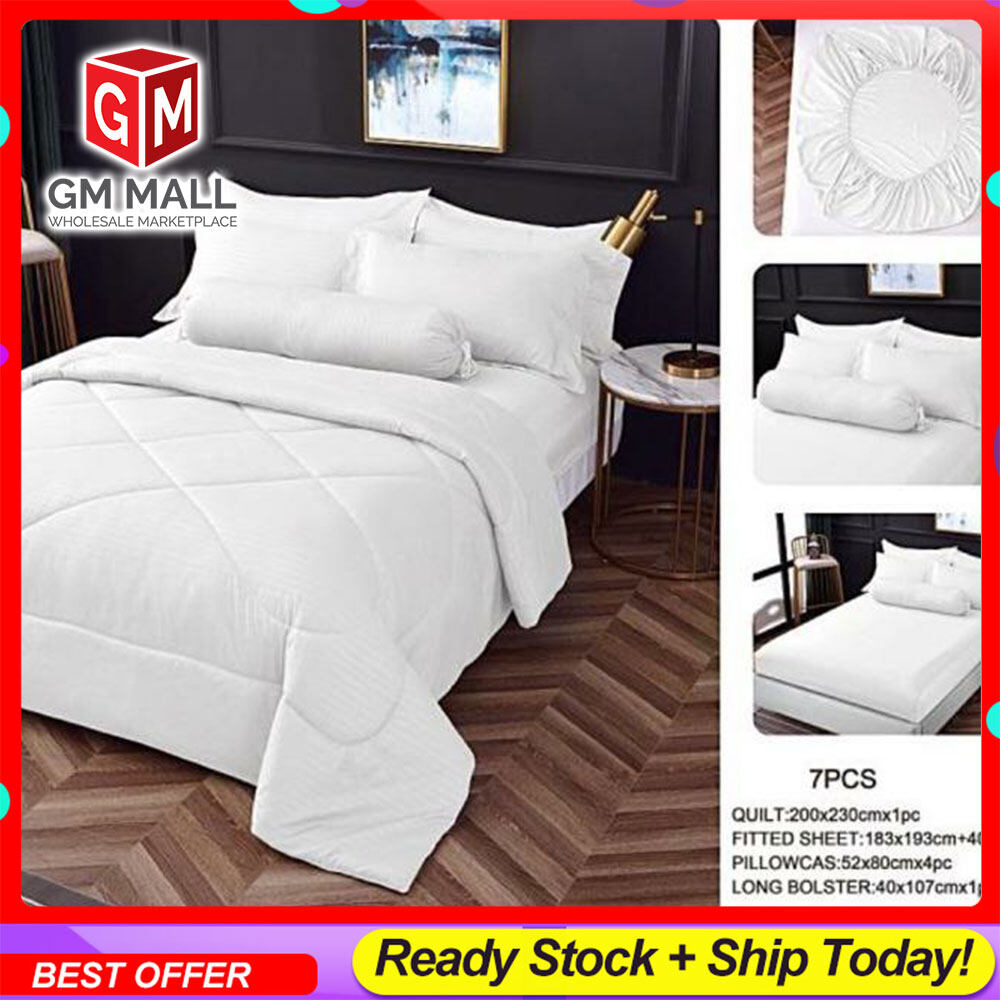 KING/QUEEN High Quality 100% Cotton Cadar Hotel Fitted Bedsheet 7in1 White Color with comforter Bedsheet Plain Set