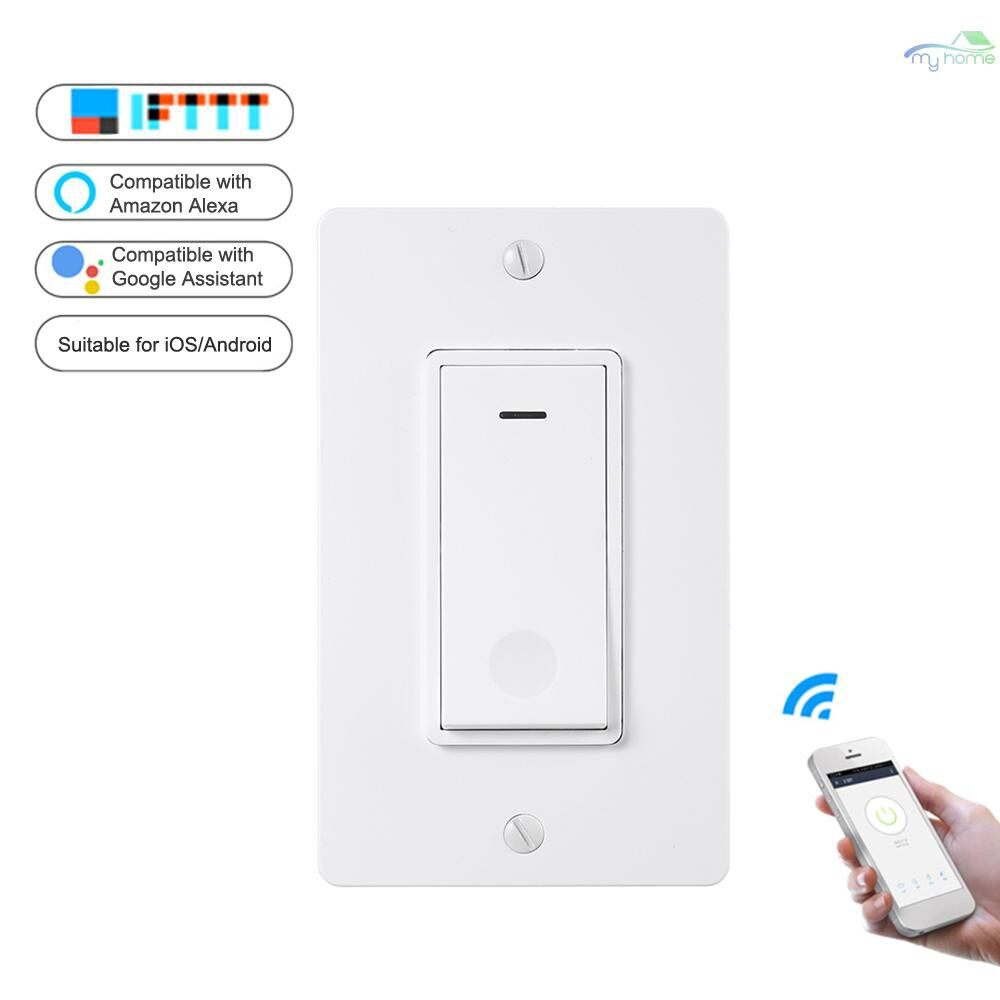DIY Tools - WiFi Intelligent Switch US Standard Button Switch APP Remote Control Switch Compatible with Amazon - WHITE