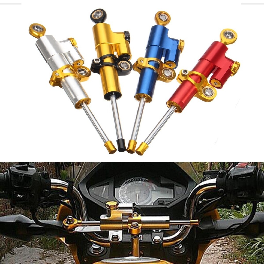 Moto Accessories - 1 Piece Steering Damper Motorcycle Stabilizer Linear Reversed Safety Control - SILVER / GOLD / BLUE / RED