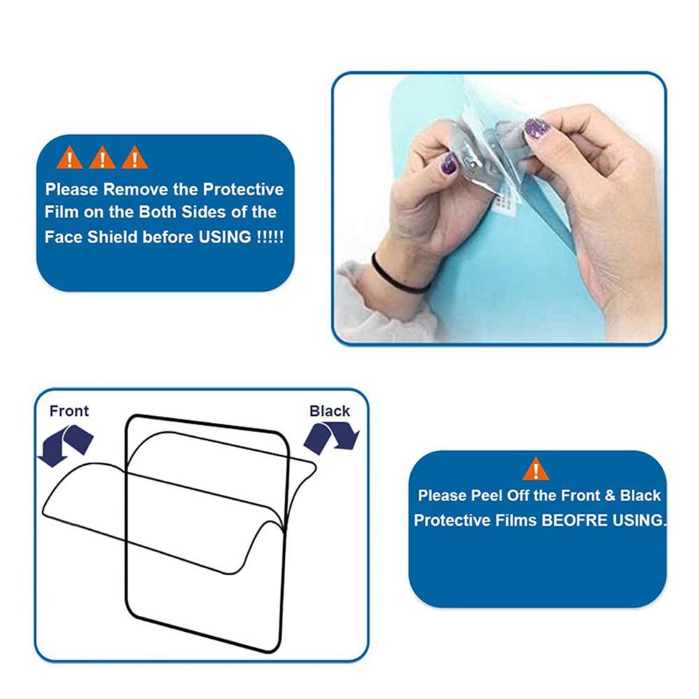 Reusable Full Face Shield Face and Eye Protection Hood Anti-fog Anti-Dust 1pc/3pcs/10pcs