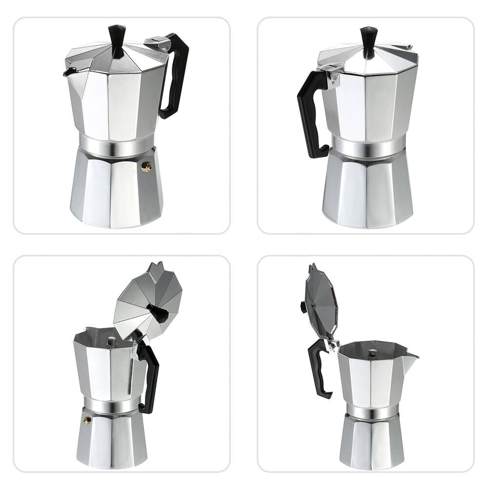 Coffee Machines and Accessories - 12-Cup Aluminum Espresso Percolator Coffee Stovetop Maker Mocha Pot for Use on Cooker Gas Stove - 12-CUP / 9-CUP / 6-CUP / 3-CUP