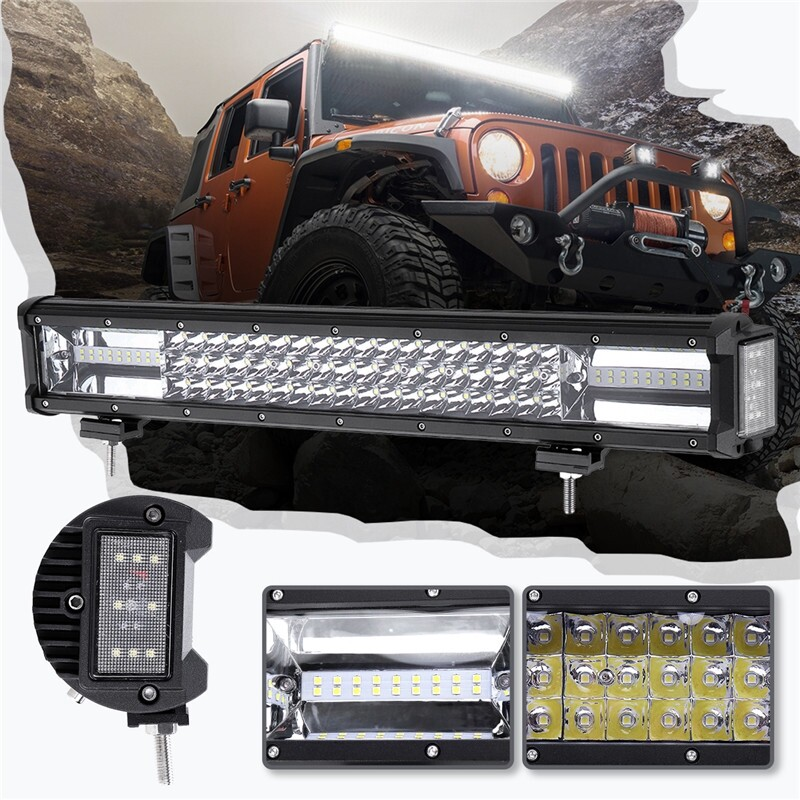 Car Lights - 20\'\' 680W Dual Side Shooter LED Work Light Flood Spot Offroad ATV Driving Lamp - Replacement Parts