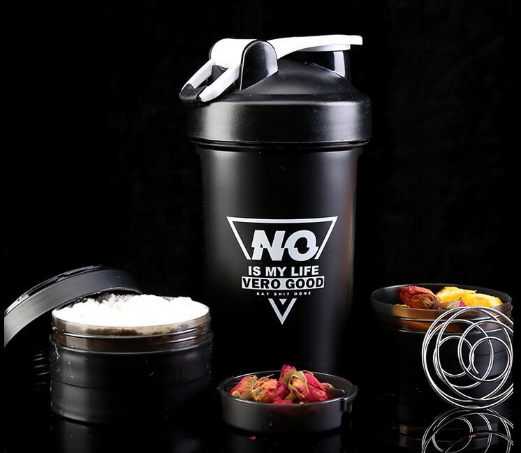 Protein Shaker Compartment Bottle with Stainless Steel Ball 2 layer compartment #sc