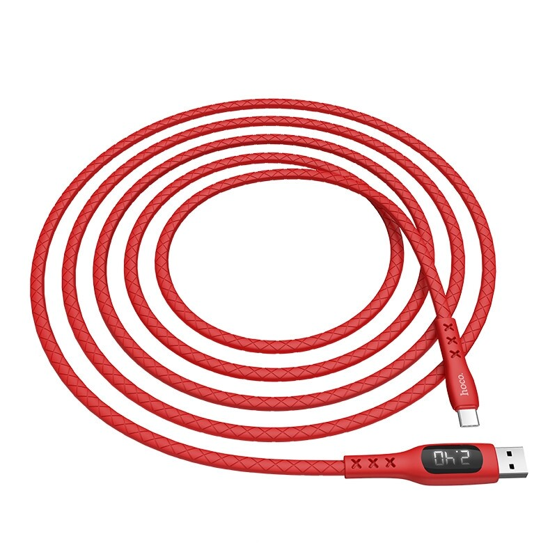 Mobile Cable & Chargers - HOCO S6 Timing LED Digital Display 3A Sentinel Micro/Type-C Data Cable for Samsung Xiaomi Huawei - BLACK-TYPE-C / RED-MICRO / BLACK-MICRO / RED-TYPE-C