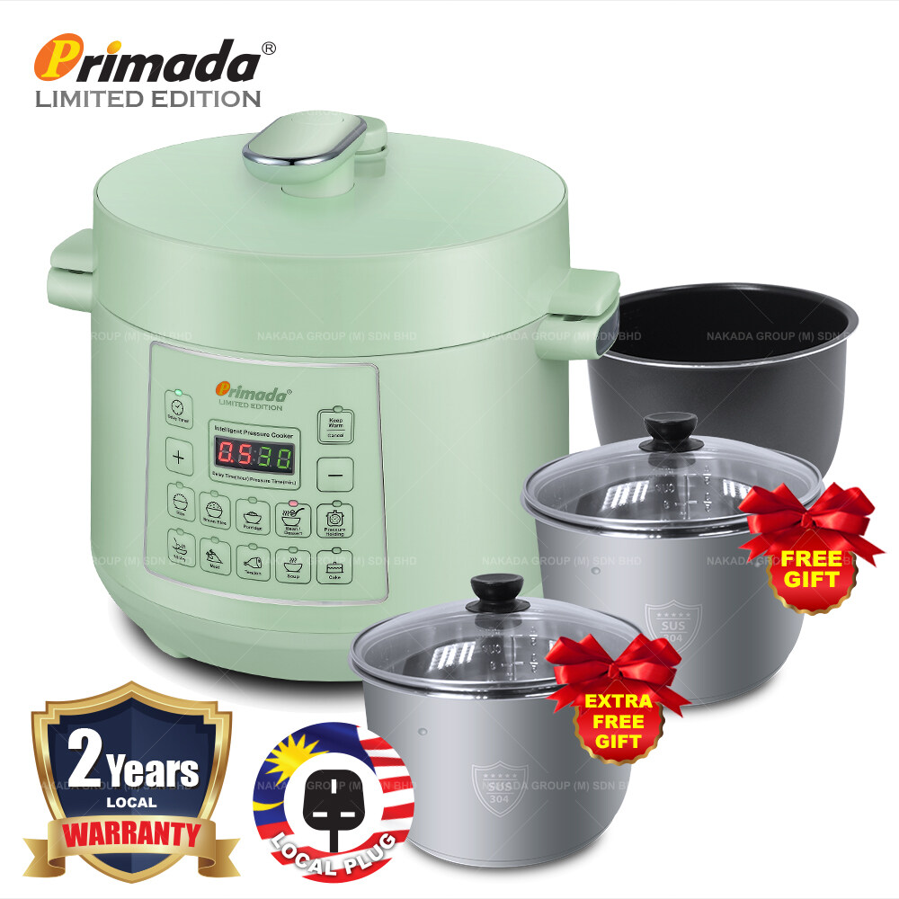 Primada LIMITED EDITION 4 Liter Triple Pots Pressure Cooker MPC4000 (1 NON STICK POT+FREE 2 STAINLESS STEEL POT) MPC4000 FREE 2x4005A