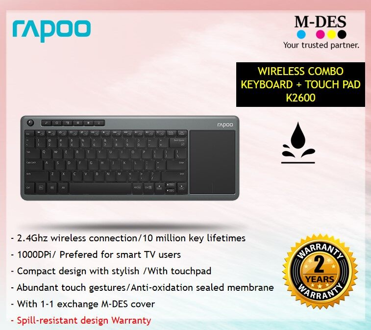 RAPOO WIRELESS COMBO KEYBOARD+TOUCHPAD K2600