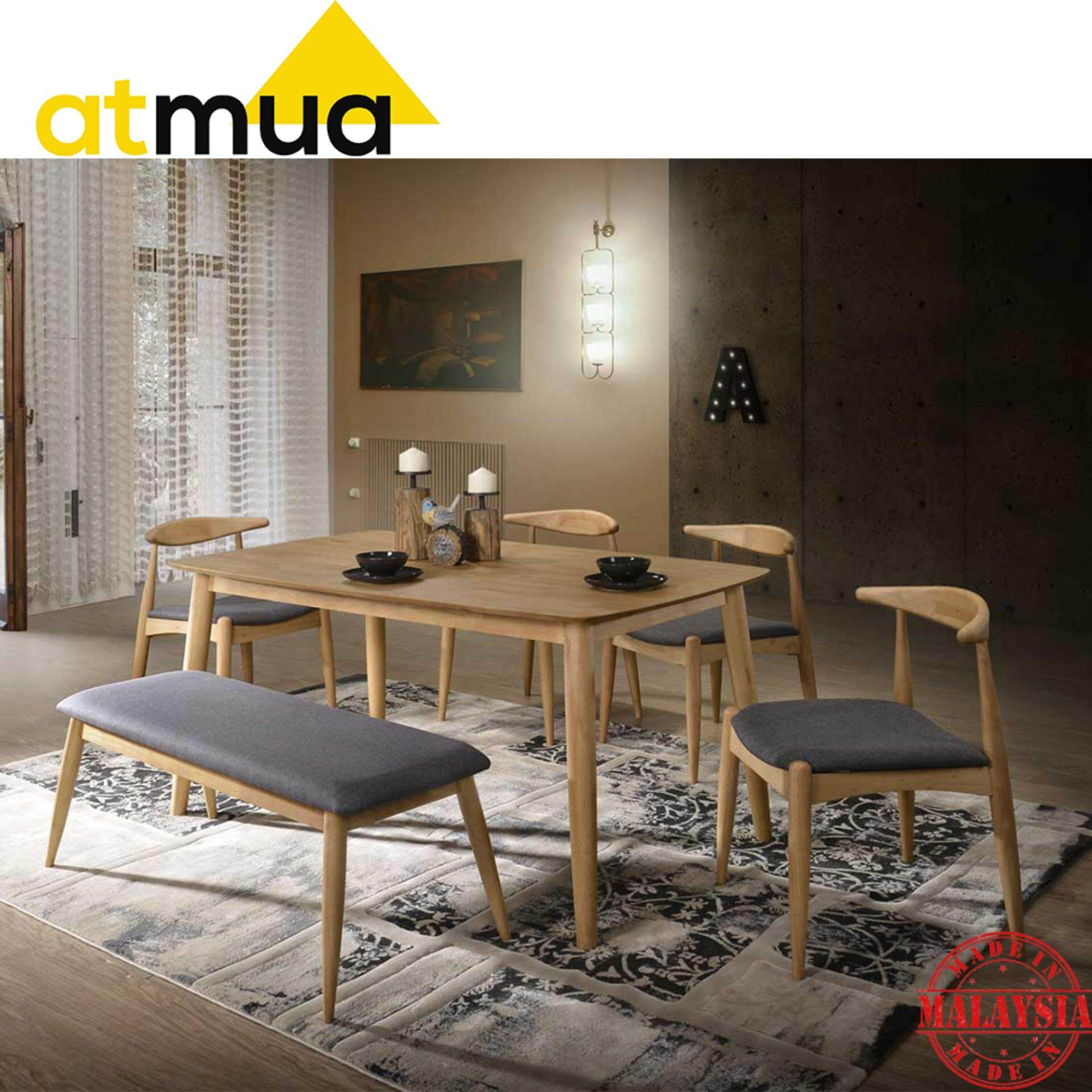 Atmua Olim Dining Set (1 Table + 4 Chair + Bench Chair) - Scandinavian Style [Full Solid Wood]