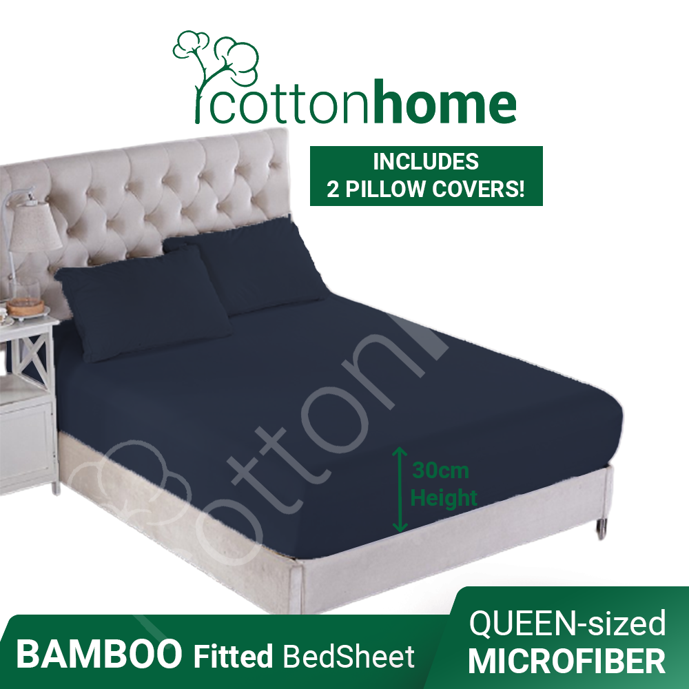Bamboo Thick Fabric: 380 TC: QUEEN Fitted Plain Bedsheet with 2x Pillow covers- *Microfiber*