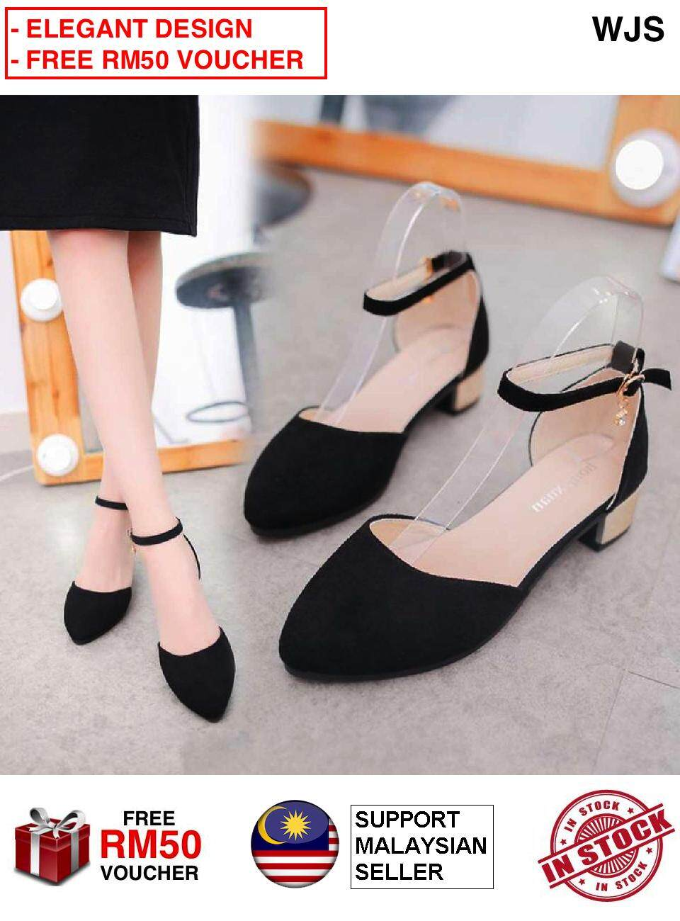 (ELEGANT DESIGN) WJS Exquisite Latest Korean Style Women High Heels Ankle Strap Chunky Heels Women Shoe Wedges [FREE RM 50 VOUCHER]