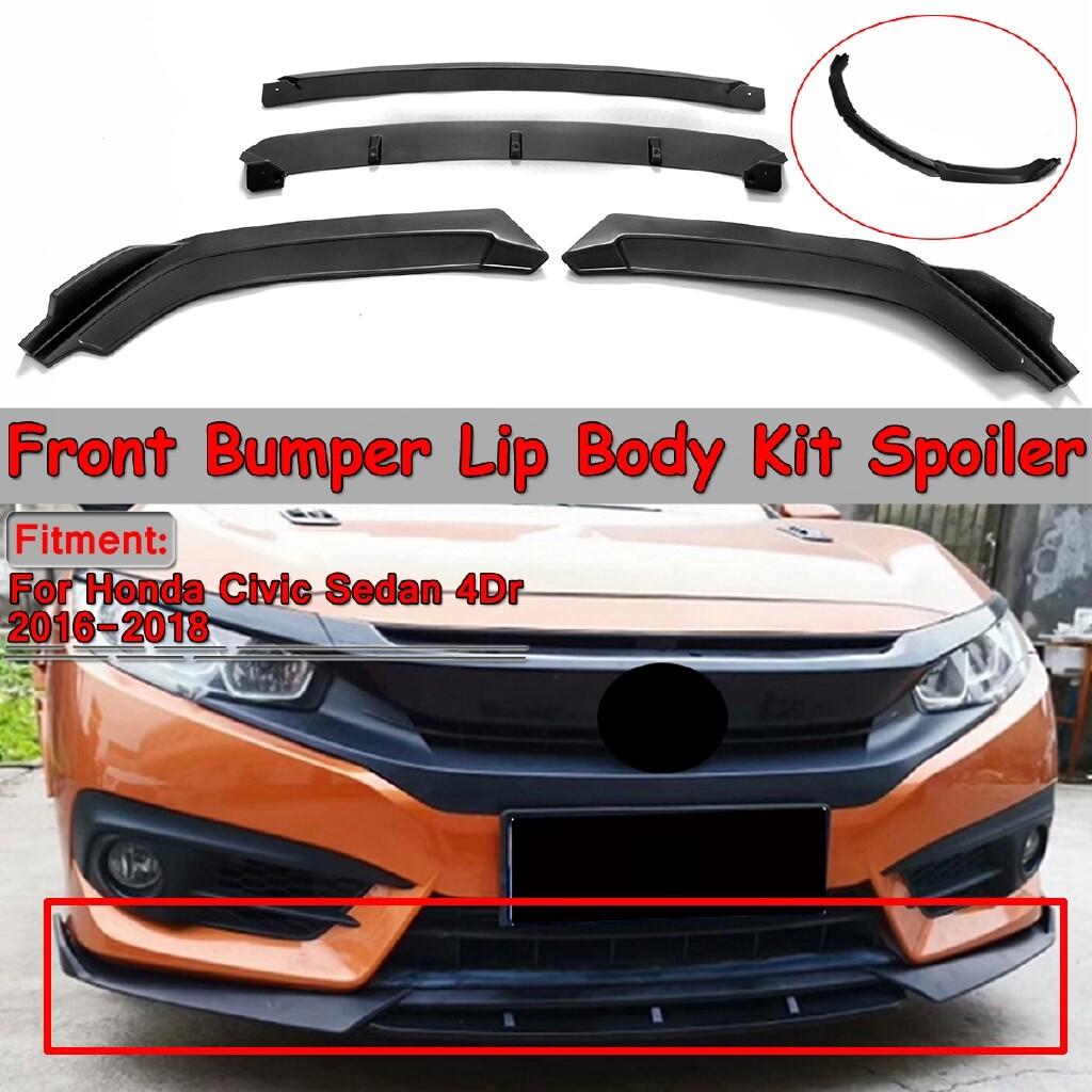 Automotive Tools & Equipment - For Honda Civic Sedan 4Dr 2016- 4 PIECE(s) Front Bumper Lip Body Kit Spoiler Wing - Car Replacement Parts