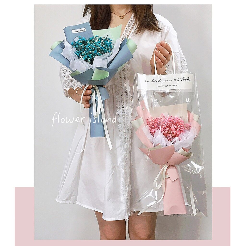 Preserved 100% Real Baby Breath Bouquet Flower ins Handbag + LED   Valentine's   Birthday   Anniversary   Mother永生满天星花束