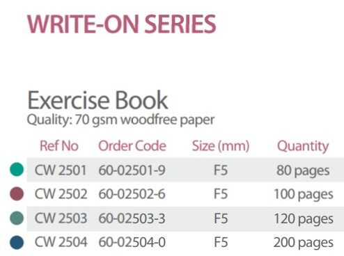 WRITE-ON CW2504 F5 200P 70gms EXERCISE BOOK x 5pcs
